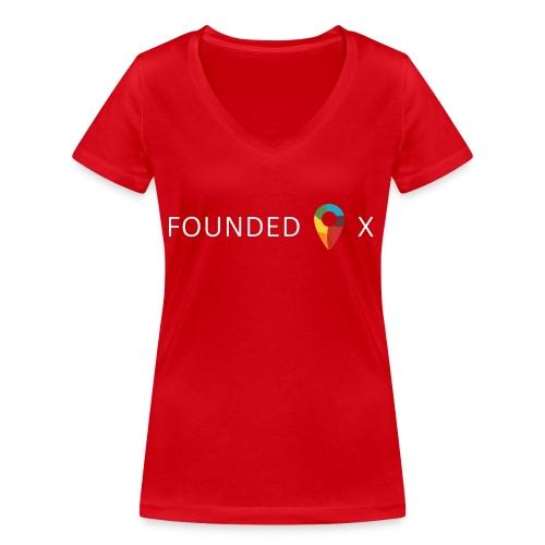 FoundedX logo white png - Women's Organic V-Neck T-Shirt by Stanley & Stella