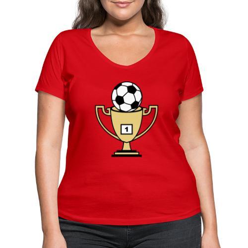 Pokal mit Fussball - Frauen Bio-T-Shirt mit V-Ausschnitt von Stanley & Stella