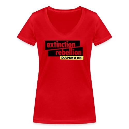 Extinction Rebellion Danmark SORT logo - Økologisk Stanley & Stella T-shirt med V-udskæring til damer
