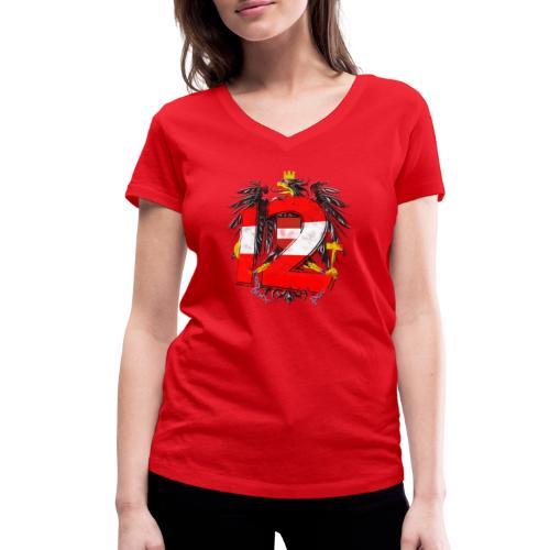 Österreich-Adler 12. Mann rot-weiß-rot - Frauen Bio-T-Shirt mit V-Ausschnitt von Stanley & Stella
