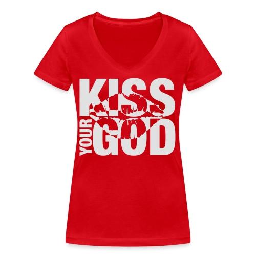 Kiss your God (weiß) - Frauen Bio-T-Shirt mit V-Ausschnitt von Stanley & Stella