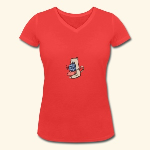 the eat-all-you-can cat - Women's Organic V-Neck T-Shirt by Stanley & Stella
