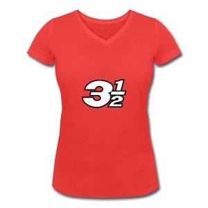 Three and a Half Logo - Women's Organic V-Neck T-Shirt by Stanley & Stella