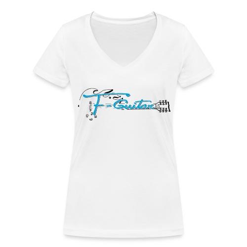 F-Guitar_fond_clair_T-Shirt - T-shirt bio col V Stanley & Stella Femme