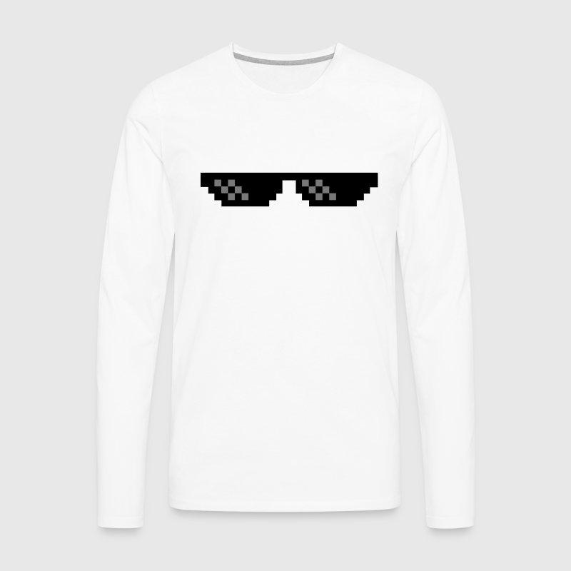 Pixel Brille Thug Life Gangster  - Männer Premium Langarmshirt