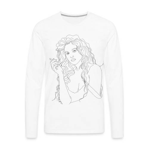 Chica Fumando - Camiseta de manga larga premium hombre