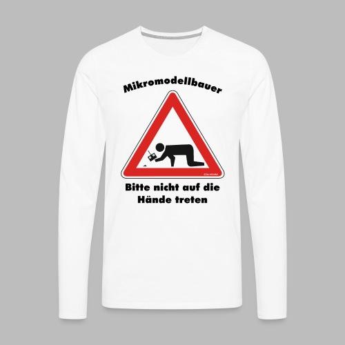 Mikromodell Warnschild Hände - Männer Premium Langarmshirt