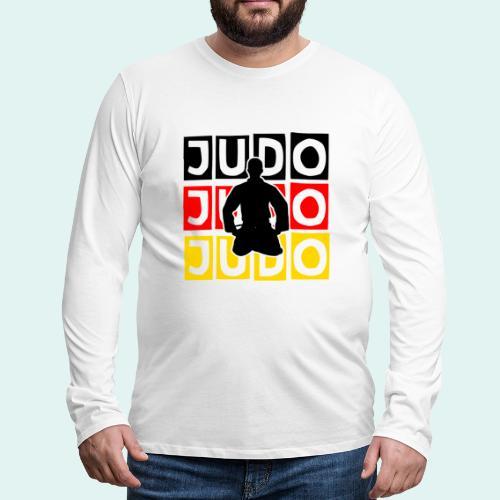 Judo Motiv Schwarz Rot Gold - Männer Premium Langarmshirt