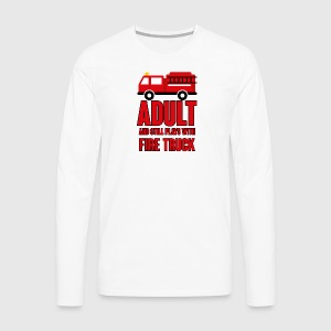 Feuerwehr: Adult and still plays with fire truck - Männer Premium Langarmshirt