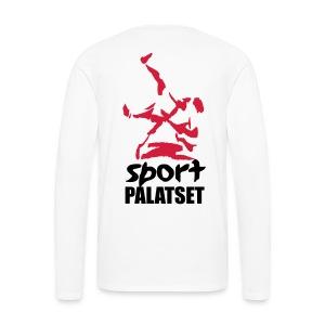 Motiv med svart och röd logga - Långärmad premium-T-shirt herr