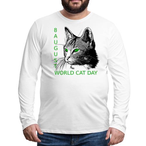 Gatto, 8 agosto la sua giornata mondiale - Maglietta Premium a manica lunga da uomo