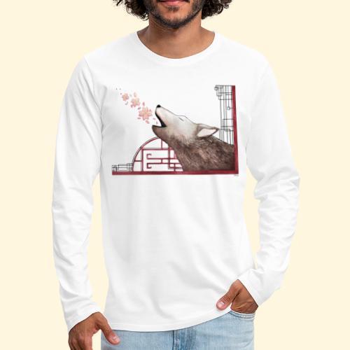 Le chant du loup aux fleurs de cerisier - T-shirt manches longues Premium Homme