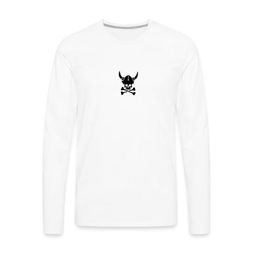 Totenkopf mit Wikingerhelm - Männer Premium Langarmshirt