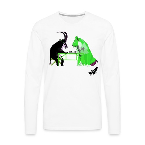 Playing Senet by BlackenedMoonArts, green w. logo - Herre premium T-shirt med lange ærmer