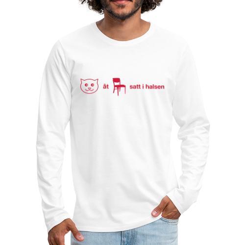 Katt åt stol - Långärmad premium-T-shirt herr