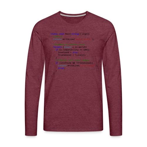 Love seen by a C# programmer - Maglietta Premium a manica lunga da uomo
