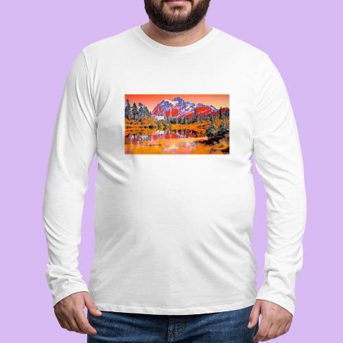 Montagne rosse punteggiate - Maglietta Premium a manica lunga da uomo