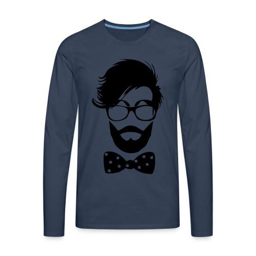 hipster_med_briller_og_butterfly - Herre premium T-shirt med lange ærmer
