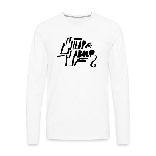 Cheap Labour Basic Logo (Black on White) - Långärmad premium-T-shirt herr