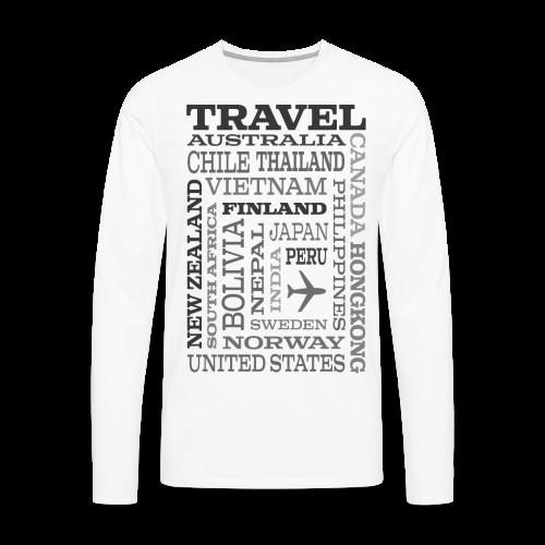 Travel Places Gray design - Miesten premium pitkähihainen t-paita