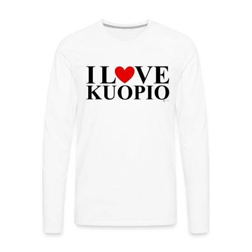I LOVE KUOPIO (koko teksti, musta) - Miesten premium pitkähihainen t-paita