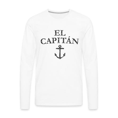 El Capitan Anker (Vintage Schwarz) Kapitän Käpt'n - Männer Premium Langarmshirt