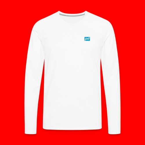 pd Blue - Herre premium T-shirt med lange ærmer