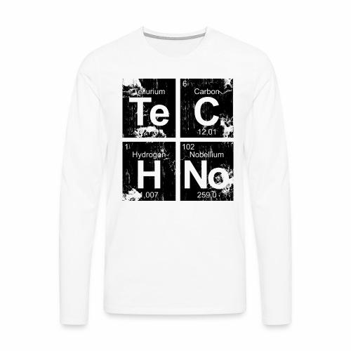 Dark Techno Elemente Black & White Paranoid Rave - Männer Premium Langarmshirt