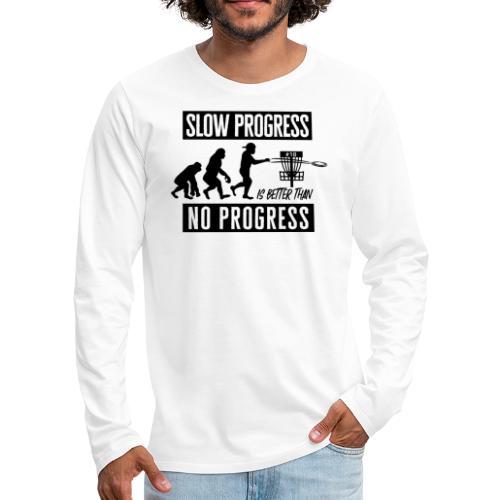 Disc golf - Slow progress - Black - Miesten premium pitkähihainen t-paita