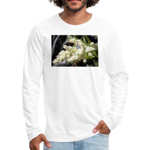 Perhonen raparperin kukalla - Miesten premium pitkähihainen t-paita