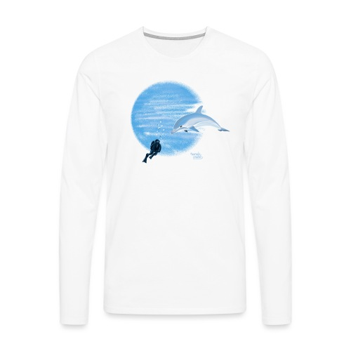 Dolphin and diver - Maillots - T-shirt manches longues Premium Homme
