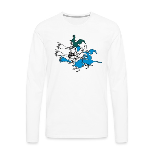 Witches on broomsticks Men's T-Shirt - Men's Premium Longsleeve Shirt