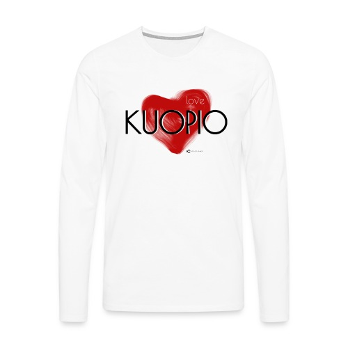 Love Kuopio teksti keskellä - Miesten premium pitkähihainen t-paita