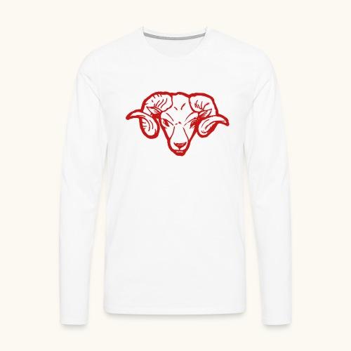 Roter Widderkopf Rammbock Geschenkidee Teufel - T-shirt manches longues Premium Homme