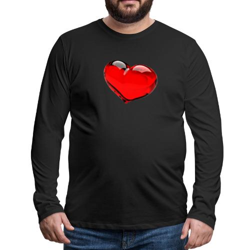 serce 3D - Koszulka męska Premium z długim rękawem