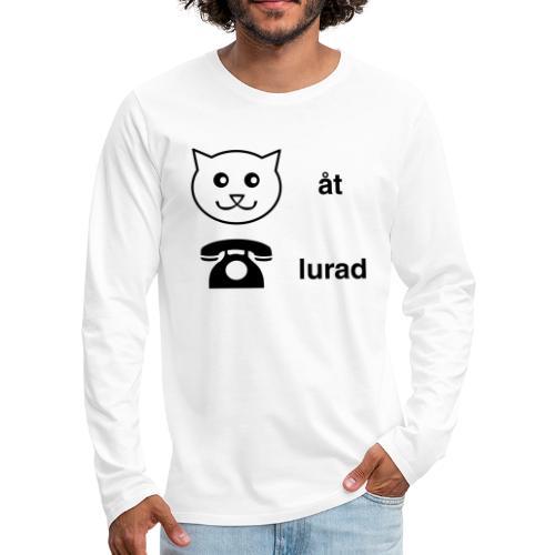 Katt åt telefon - Långärmad premium-T-shirt herr