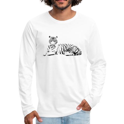 Weisser Tiger Shirt Geschenk - Männer Premium Langarmshirt