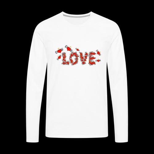 Latające miłości serc - Koszulka męska Premium z długim rękawem