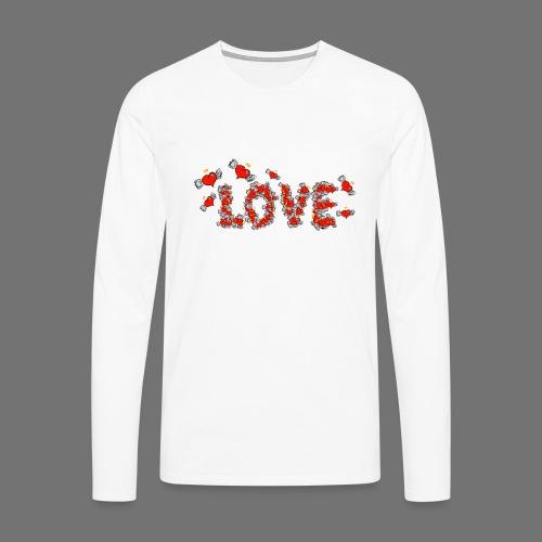 Flying Hearts LOVE - Miesten premium pitkähihainen t-paita