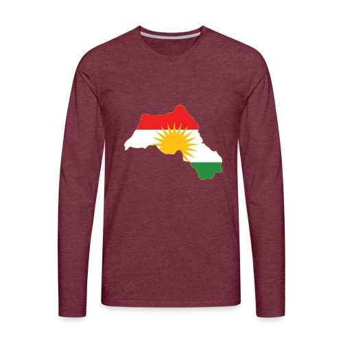 Kurdistan Flag Map - Männer Premium Langarmshirt