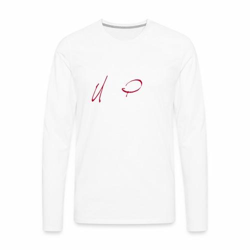 Logga röd och vit text - Långärmad premium-T-shirt herr