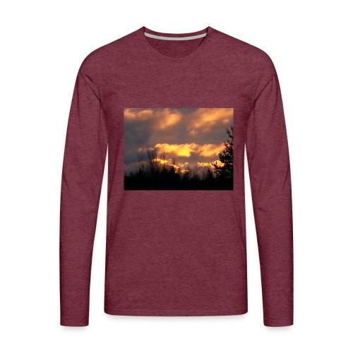 Iltarusko - Miesten premium pitkähihainen t-paita