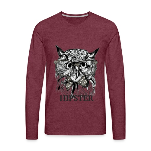 Hibou Hipster - T-shirt manches longues Premium Homme