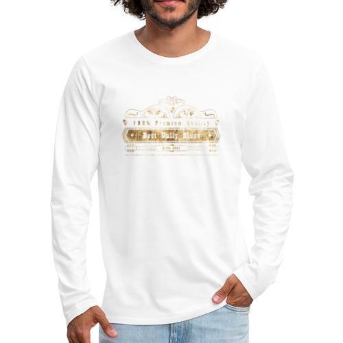Dobro bester Vully Weinlese-Blau-Rost auf Weiß - Männer Premium Langarmshirt