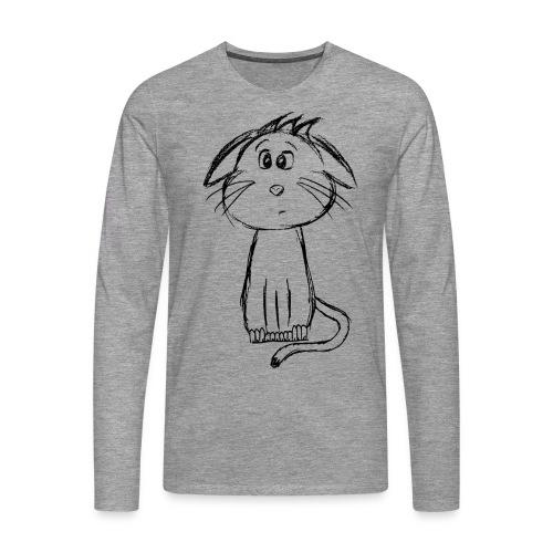 Kissa Kissanpentu musta scribblesirii - Miesten premium pitkähihainen t-paita