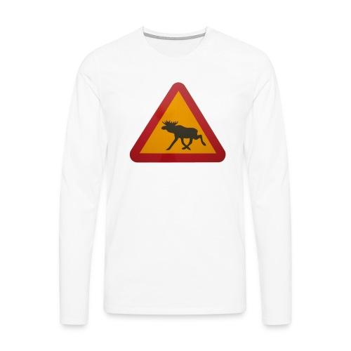 Warnschild Elch - Männer Premium Langarmshirt