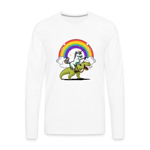 Unicorn Riding Ninja - Miesten premium pitkähihainen t-paita
