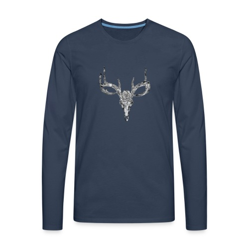 Deer skull with rose - Miesten premium pitkähihainen t-paita