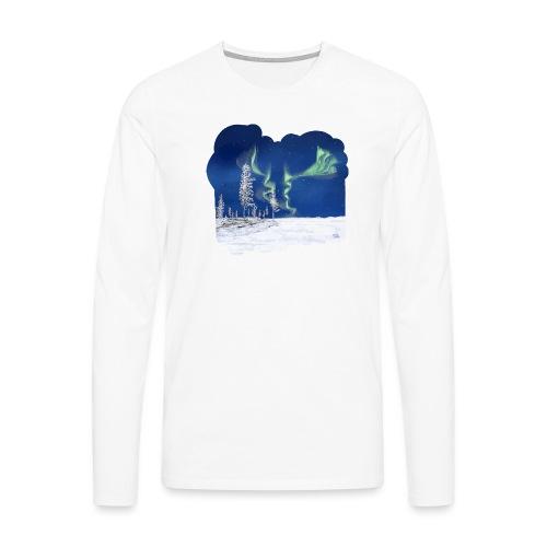 hiver avec des aurores boréales - T-shirt manches longues Premium Homme