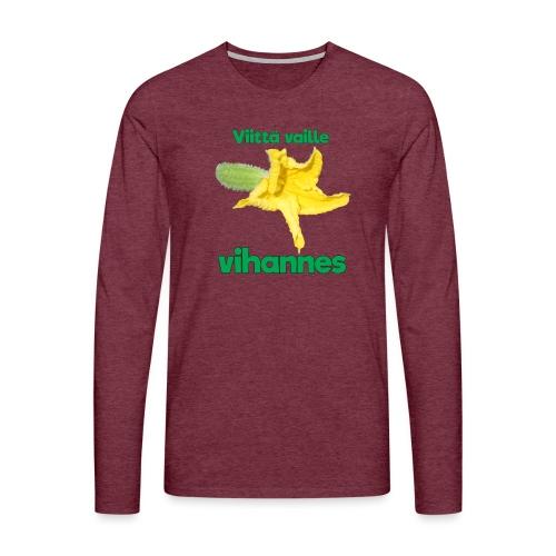 Viittä vaille vihannes, avomaankurkku - Miesten premium pitkähihainen t-paita
